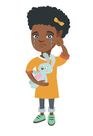 African-american girl crying and wiping the tears away. Little girl crying and holding toy rabbit in hand. Vector sketch cartoon illustration isolated on white background. Illustration