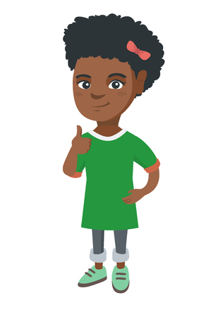 African-american little girl giving thumb up. Full length of smiling girl with thumb up. Cheerful girl showing thumb up. Vector sketch cartoon illustration isolated on white background.