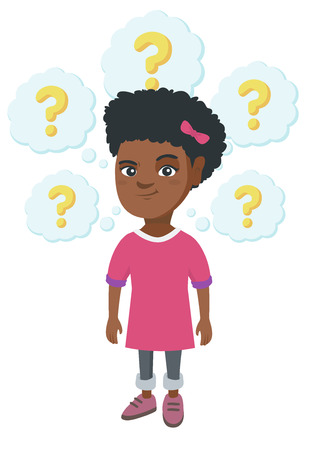 African-american thinking girl with question marks. Thoughtful little girl standing under question marks above her head. Vector sketch cartoon illustration isolated on white background.