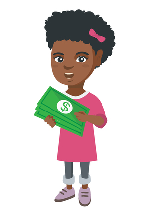 cash: African-american girl holding money in hands. Full length of smiling little girl with dollar money banknotes. Vector sketch cartoon illustration isolated on white background. Illustration