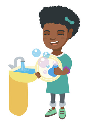 sink: Happy little African girl washing dishes in the sink. Smiling girl doing dishes and having fun with helping her parents with housework. Vector sketch cartoon illustration isolated on white background. Illustration