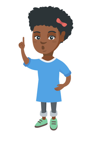 Happy little african-american girl with open mouth pointing finger up. Surprised girl came up with a creative idea. Vector sketch cartoon illustration isolated on white background. Ilustração