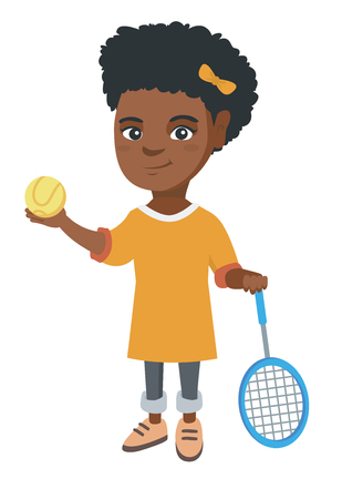Little African tennis player holding a tennis racket and a ball. Smiling girl while a tennis racket and a ball.  Vector sketch cartoon illustration isolated on white background.