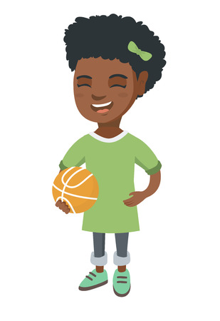 African-american cheerful schoolgirl laughing and holding a basketball ball. Happy smiling little schoolgirl with a basketball ball. Vector sketch cartoon illustration isolated on white background.