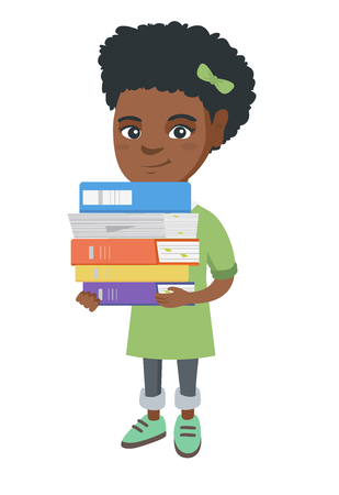 Little african-american school child holding a big pile of textbooks in hands. School child carrying a huge stack of textbooks. Vector sketch cartoon illustration isolated on white background.
