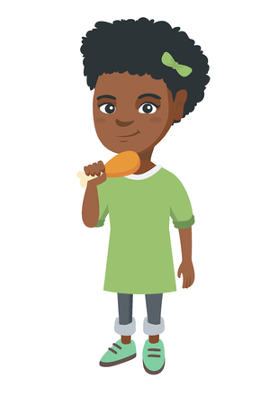 African girl eating roasted chicken leg. Little girl eating fried chicken leg. Full length of happy child holding a chicken drumstick. Vector sketch cartoon illustration isolated on white background. Illustration