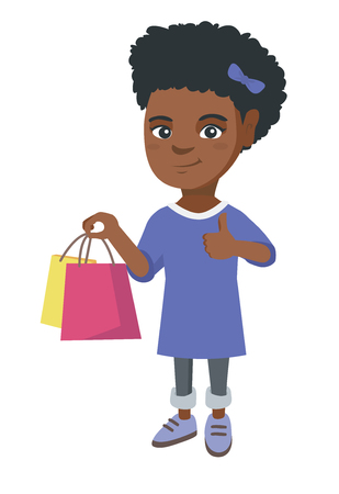 Happy african-american girl holding shopping bags and giving thumb up. Little smiling girl with shopping bags. Vector sketch cartoon illustration isolated on white background. Çizim