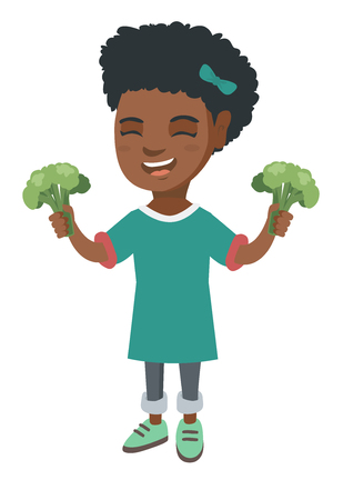 Little african girl laughing and holding broccoli. Full length of smiling girl with broccoli in hands. Concept of healthy nutrition. Vector sketch cartoon illustration isolated on white background.