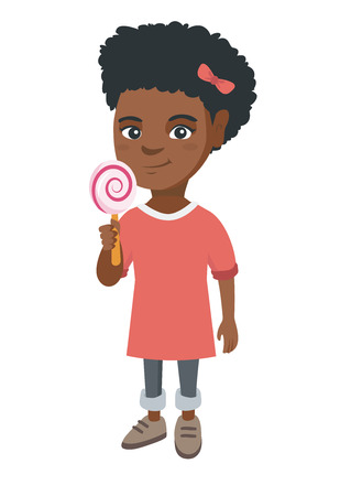 Little african-american girl holding a lollipop candy. Full length of young girl eating a lollipop candy. Vector sketch cartoon illustration isolated on white background. Illustration