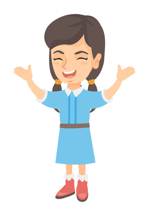 Cheerful caucasian girl standing with hands raised in the air. Full length of happy girl raising her hands and celebrating success. Vector sketch cartoon illustration isolated on white background.
