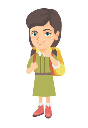 Thoughtful little girl thinking and holding finger on her chin. Caucasian little girl with school bag thinking. Vector sketch cartoon illustration isolated on white background.