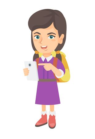 Caucasian girl with backpack using a cellphone. Little girl addicted to her cellphone. Smiling girl pointing at cellphone. Vector sketch cartoon illustration isolated on white background. Illustration