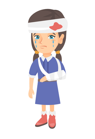 Caucasian injured girl with broken arm and bandaged head. Crying little girl having head and arm injury. Vector sketch cartoon illustration isolated on white background.