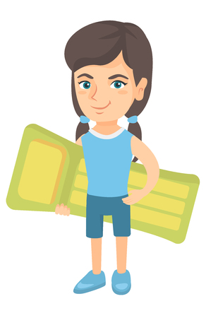 Little happy caucasian girl in shorts holding green inflatable mattress. Smiling girl with inflatable mattress for swimming. Vector sketch cartoon illustration isolated on white background. Illustration