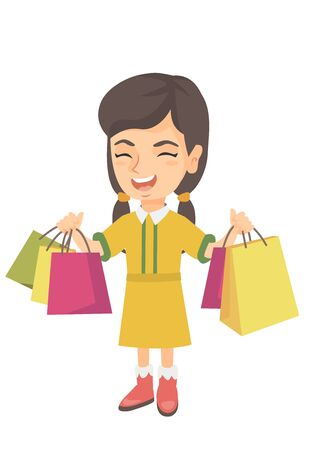 Happy caucasian girl holding shopping bags. Smiling girl carrying shopping bags. Cheerful girl standing with a lot of shopping bags. Vector sketch cartoon illustration isolated on white background.  イラスト・ベクター素材