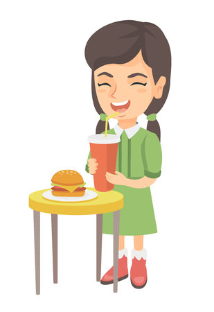 Little caucasian laughing girl drinking soda and eating cheeseburger. Smiling girl standing near the table with fast food. Vector sketch cartoon illustration isolated on white background.