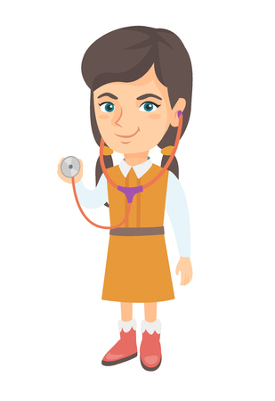 Happy caucasian little girl in doctor costume holding a stethoscope. Laughing girl wearing a doctor coat and showing a stethoscope. Vector sketch cartoon illustration isolated on white background.