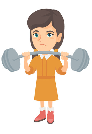 Upset caucasian child lifting a heavy weight barbell. Little sad girl in sportswear training with barbell. Girl trying to lift barbell. Vector sketch cartoon illustration isolated on white background.