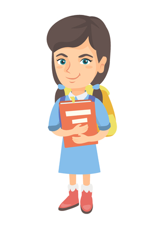 Caucasian schoolgirl with backpack and textbook. Smiling happy schoolgirl hugging a textbook. Vector sketch cartoon illustration isolated on white background.