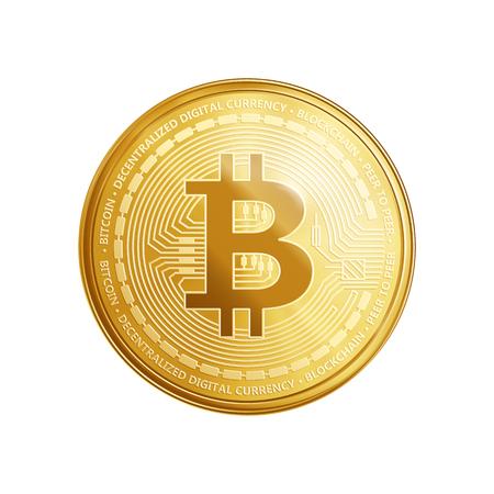 Złota moneta bitcoinowa. Crypto waluty złoty monety bitcoin symbol odizolowywający na białym tle. Realistyczna wektorowa ilustracja.