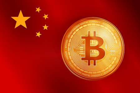 Golden bitcoin coin on the China flag. Crypto currency golden coin bitcoin symbol on China flag background. Realistic vector illustration.