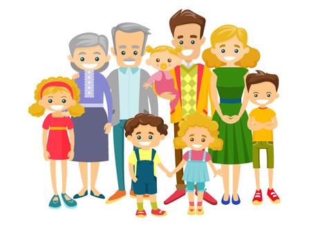 Glückliche erweiterte kaukasische lächelnde Familie mit alten Großeltern, jungen Eltern und vielen Kindern. Portrait der großen Familie zusammen mit fröhlichem Lächeln. Vektorabbildung getrennt auf weißem Hintergrund.