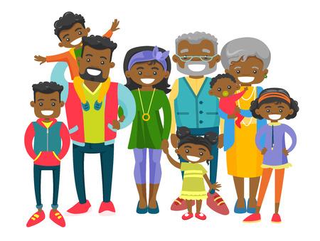 Heureuse famille africaine souriante élargie avec de vieux grands-parents, de jeunes parents et de nombreux enfants. Portrait de grande famille avec un sourire joyeux. Illustration vectorielle isolée sur fond blanc. Vecteurs