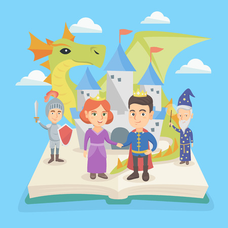 Open fairytale book with princess, prince, dragon, magician and knight standing near the castle. Open book with medieval castle and characters of fairytale. Vector cartoon illustration. Square layout.