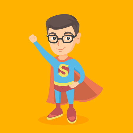 Caucasian child boy pretending to be a superhero. Confident boy playing in a superhero. Happy little superhero boy wearing a red cloak. Superhero concept. Vector cartoon illustration. Square layout.