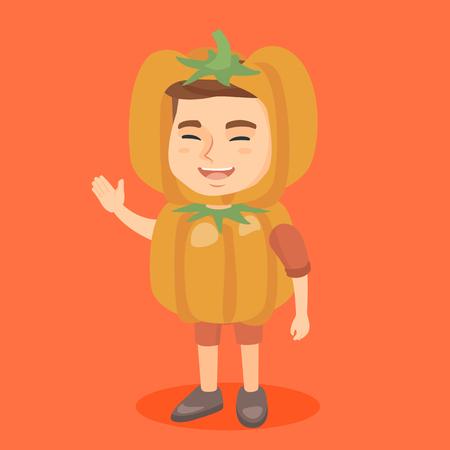 Petit Garçon Caucasien Souriant Dans Un Costume De Citrouille Prêt Pour Halloween Garçon Joyeux Dans Un Costume De Citrouille D Halloween Agitant Sa