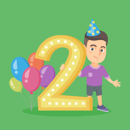 Little caucasian boy standing next to the number two and balloons at the birthday party. Two years old boy wearing party hat and celebrating second birthday. Vector cartoon illustration. Square layout