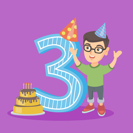 Little caucasian boy standing next to the number three and cake at the birthday party. Three year old boy wearing party hat and celebrating third birthday. Vector cartoon illustration. Square layout.