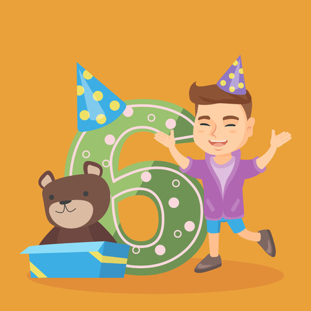 Caucasian boy standing next to the number six, gift box and teddy bear at birthday party. Six year old boy wearing party hat and celebrating sixth birthday. Vector cartoon illustration. Square layout
