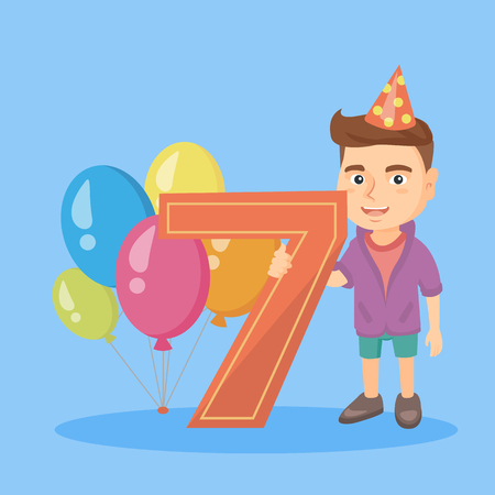 next year: Caucasian boy standing next to the number seven and balloons at the birthday party. Seven year old boy wearing party hat and celebrating seventh birthday. Vector cartoon illustration. Square layout
