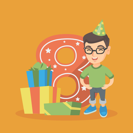 eight year old: Caucasian boy standing next to the number eight and gift boxes at the birthday party. Eight year old boy wearing party hat and celebrating eighth birthday. Vector cartoon illustration. Square layout
