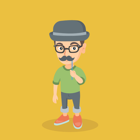 Little caucasian boy wearing hat bowler and holding fake moustache on a stick in front of his face. Boy in hat bowler, glasses and fake mustache. Vector cartoon illustration. Square layout Ilustracja
