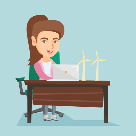 Caucasian worker of wind farm working on a laptop. Engineer projecting wind turbine in office. Worker of wind farm working with the model of wind turbine. Vector cartoon illustration. Square layout