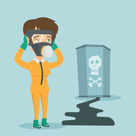 Concerned woman in respirator and yellow protective suit clutching her head. Woman in yellow protective suit looking at leaking barrel with radiation sign. Vector cartoon illustration. Square layout