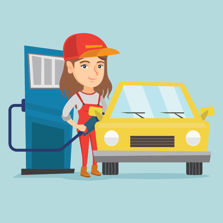 Young caucasian friendly worker of gas station refueling a car. Woman in workwear pumping gasoline fuel in car at gas station. Vector cartoon illustration. Square layout.