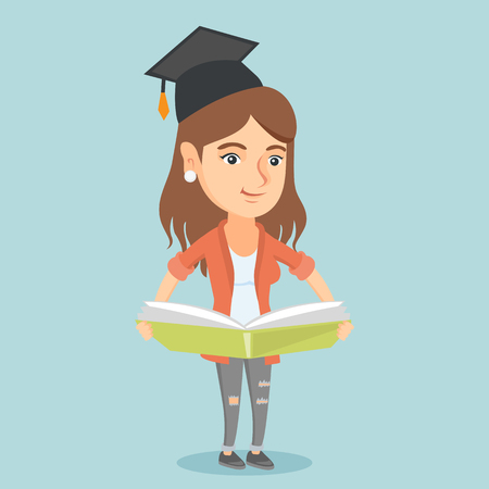 Young caucasian graduate standing with a big open book in hands. Smiling female student in graduation cap reading a book. Happy woman holding a huge book. Vector cartoon illustration. Square layout. Illusztráció