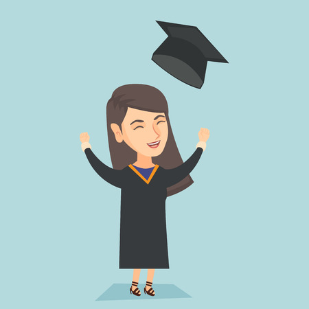 Young caucasian cheerful graduate in graduation cloak throwing up hat. Excited graduate with closed eyes and raised hands celebrating graduation. Vector cartoon illustration. Square layout.
