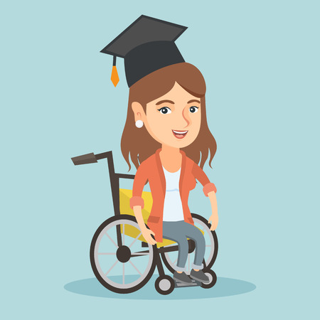 Young caucasian student sitting in wheelchair. Cheerful and happy disabled graduate in graduation cap. Vector cartoon illustration. Square layout.