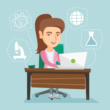 girl laptop: Young caucasian cheerful student sitting at the table and working on a laptop connected with icons of school sciences. Concept of educational technology. Vector cartoon illustration. Square layout.
