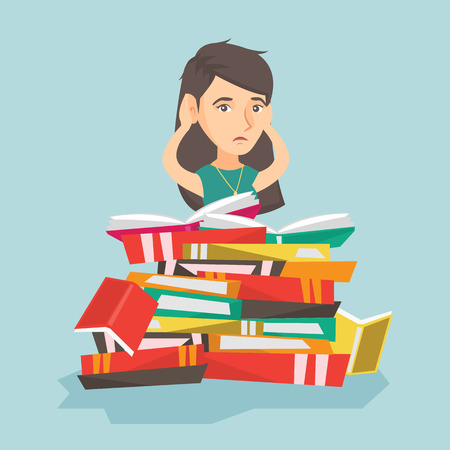 Young worried caucasian student sitting in a huge pile of books and clutching head. Desperate student preparing for exam with a lot of books. Vector cartoon illustration. Square layout.