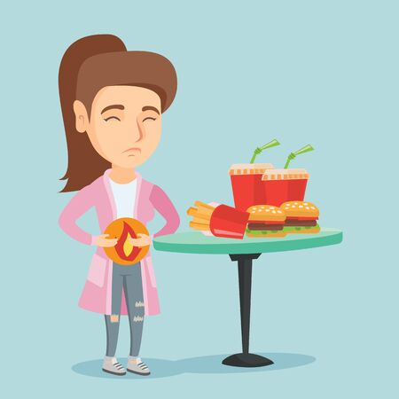 Caucasian sad woman standing near the table with fast food and having a stomach ache from heartburn. Young woman suffering from a heartburn after fast food. Vector cartoon illustration. Square layout.