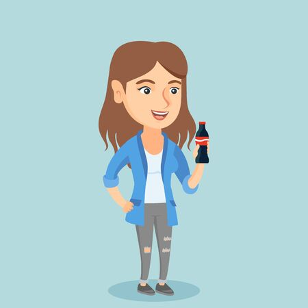 Caucasian woman holding fresh soda beverage in a glass bottle. Young woman standing with a bottle of soda. Cheerful woman drinking soda from a bottle. Vector cartoon illustration. Square layout. Illusztráció