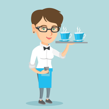 Young caucasian waitress holding a tray with two cups of tea or coffee. Full length of smiling waitress standing with a tray with cups of hot beverages. Vector cartoon illustration. Square layout.