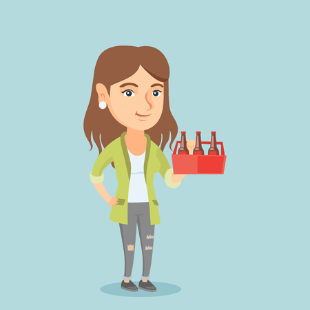 Young caucasian woman holding pack of beer. Full length of cheerful woman carrying a six pack of beer. Happy smiling woman with beer. Vector cartoon illustration. Square layout.