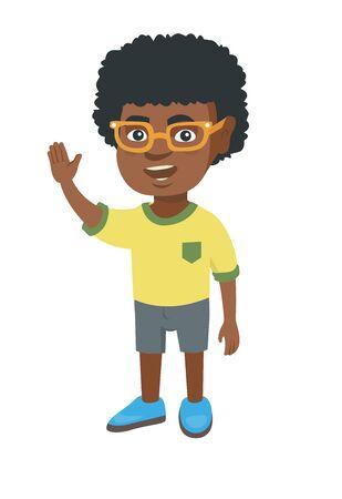 手を振ってアフリカ系アメリカ人の少年。挨拶ジェスチャーを作る - 手を振って陽気な少年。ベクター スケッチ漫画イラスト白背景に分離します。  イラスト・ベクター素材