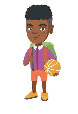 Young african cheerful schoolboy with backpack holding a basketball ball. Full length of little schoolboy with a basketball ball. Vector sketch cartoon illustration isolated on white background. Illustration